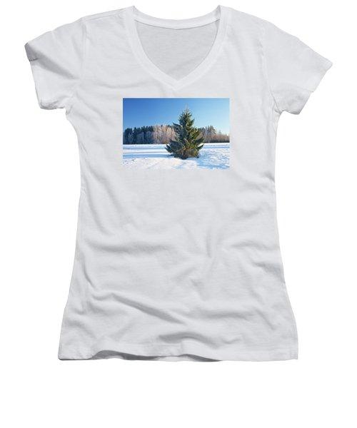 Wintry Fir Tree Women's V-Neck T-Shirt (Junior Cut) by Teemu Tretjakov