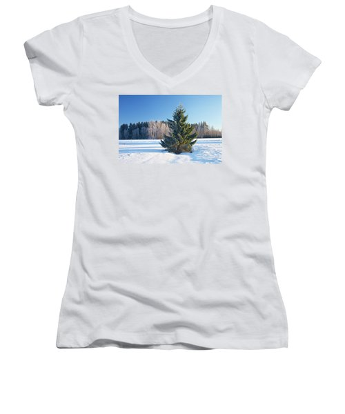 Wintry Fir Tree Women's V-Neck T-Shirt