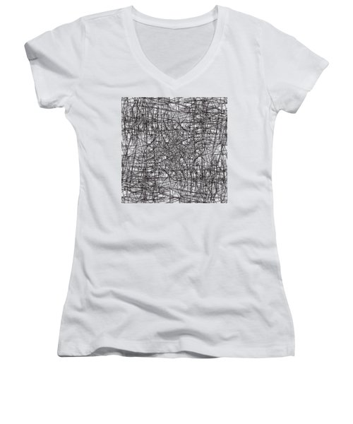 Wired Abstraction Women's V-Neck T-Shirt (Junior Cut) by Eleonora Perlic