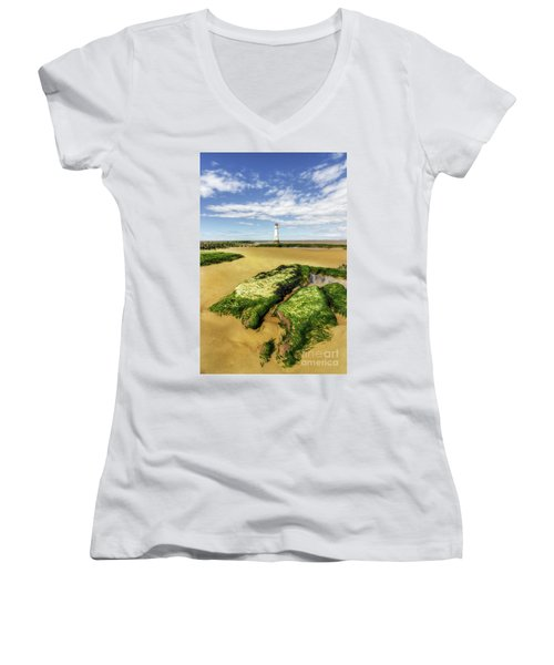 Women's V-Neck T-Shirt (Junior Cut) featuring the photograph Wirral Lighthouse by Ian Mitchell