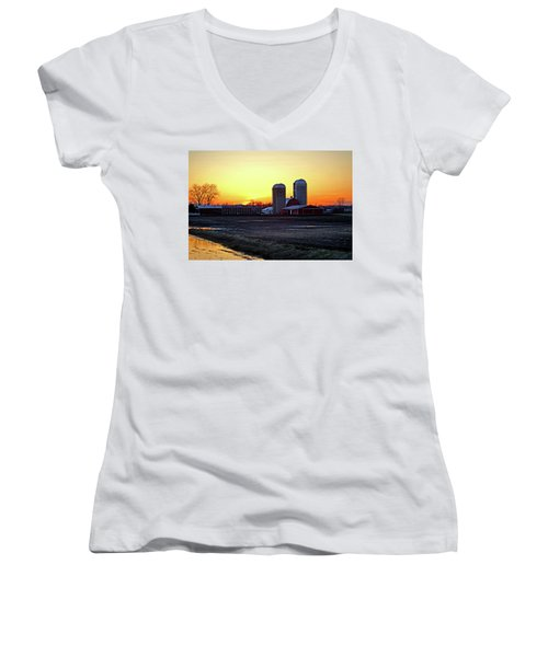 Women's V-Neck T-Shirt (Junior Cut) featuring the photograph Wisconsin At Sunset by Jean Haynes