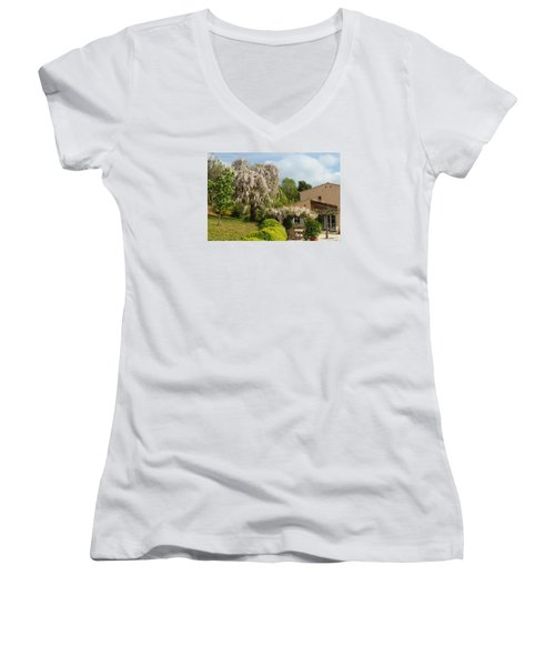 Women's V-Neck T-Shirt (Junior Cut) featuring the photograph Wisteria by Richard Patmore