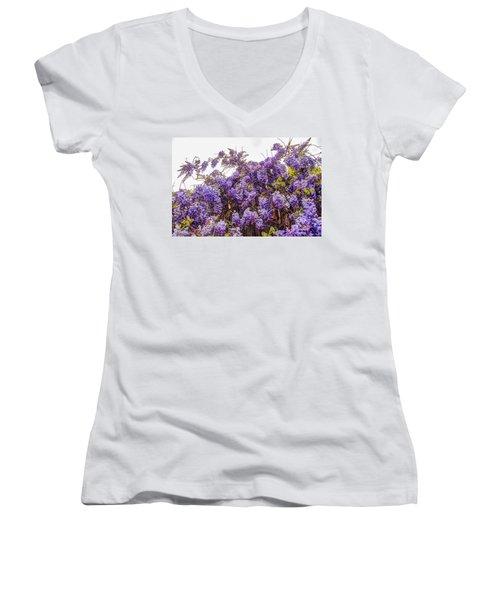 Wisteria Spring Bloom Women's V-Neck (Athletic Fit)