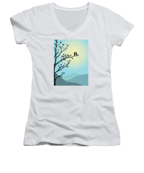 With You By My Side Women's V-Neck T-Shirt (Junior Cut) by Christina Lihani
