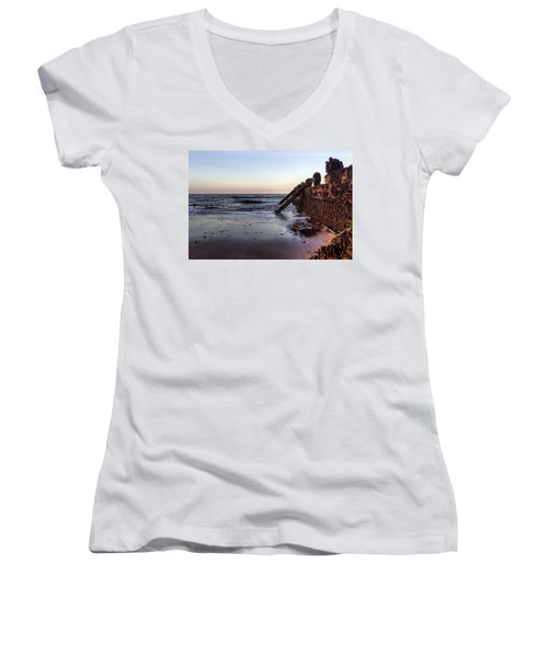 Withernsea Groynes At Sunset Women's V-Neck (Athletic Fit)