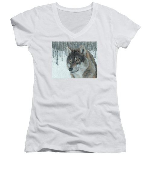 Wolf In Aspens Women's V-Neck (Athletic Fit)