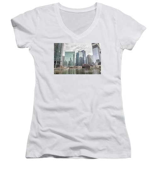 Women's V-Neck T-Shirt (Junior Cut) featuring the photograph Wolf Point Where The Chicago River Splits by Peter Ciro