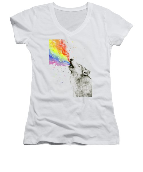 Wolf Rainbow Watercolor Women's V-Neck T-Shirt