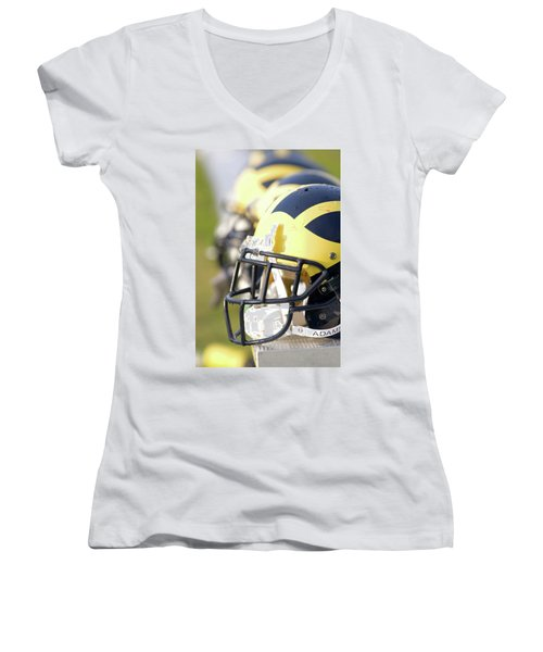 Wolverine Helmets On A Bench In The Morning Women's V-Neck (Athletic Fit)