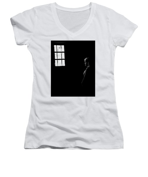 Woman In The Dark Room Women's V-Neck T-Shirt (Junior Cut) by Ralph Vazquez