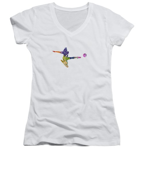 Woman Soccer Player 04 In Watercolor Women's V-Neck