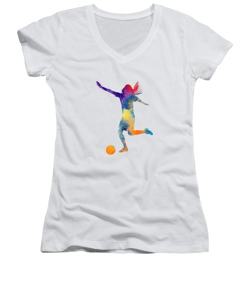 Woman Soccer Player 07 In Watercolor Women's V-Neck