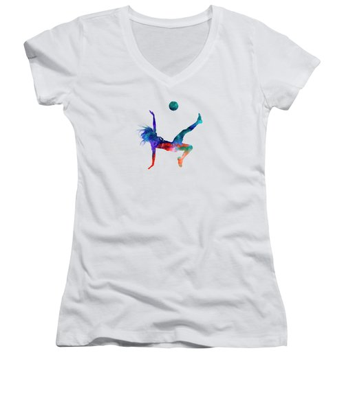 Woman Soccer Player 08 In Watercolor Women's V-Neck
