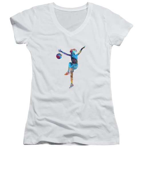 Woman Soccer Player 12 In Watercolor Women's V-Neck