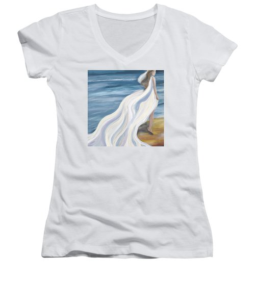Woman Strolling On The Beach Women's V-Neck T-Shirt (Junior Cut)