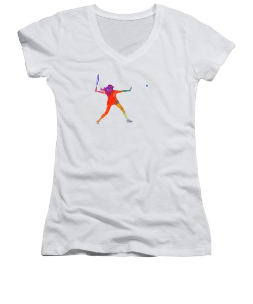Woman Tennis Player 01 In Watercolor Women's V-Neck T-Shirt (Junior Cut) by Pablo Romero