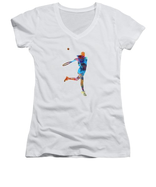 Woman Tennis Player 03 In Watercolor Women's V-Neck T-Shirt (Junior Cut) by Pablo Romero