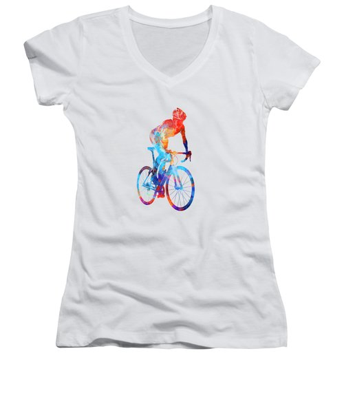 Woman Triathlon Cycling 06 Women's V-Neck T-Shirt (Junior Cut) by Pablo Romero