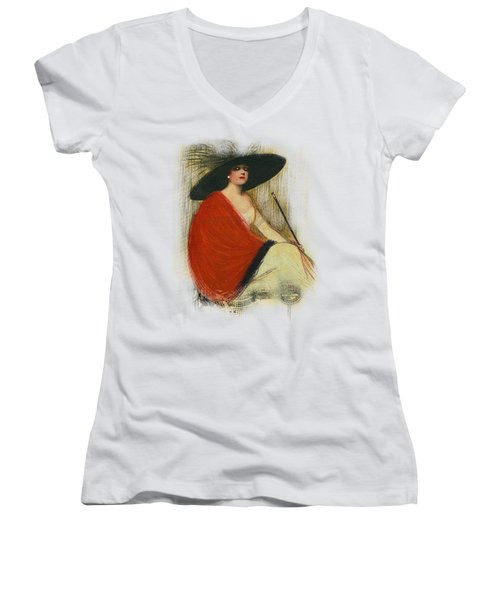 Woman Wearing Hat Women's V-Neck