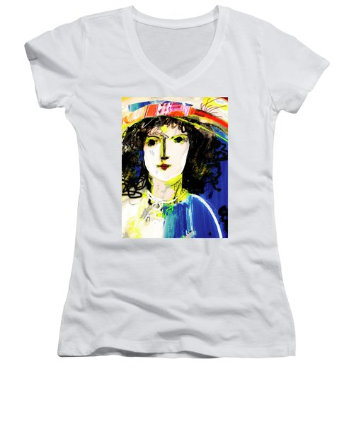 Woman With Party Hat Women's V-Neck T-Shirt (Junior Cut) by Amara Dacer
