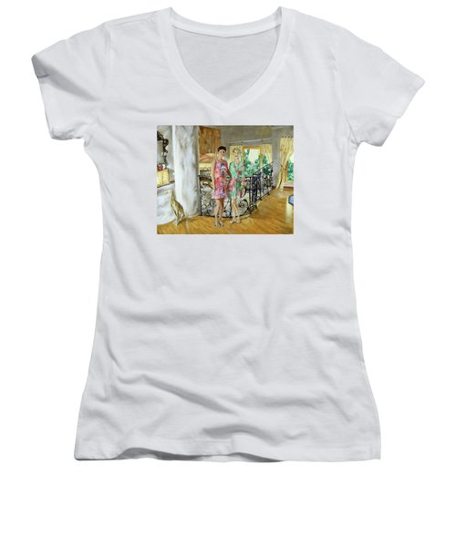 Women In Sunroom Women's V-Neck