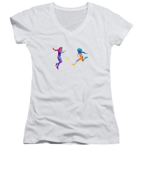 Women Soccer Players 01 In Watercolor Women's V-Neck T-Shirt