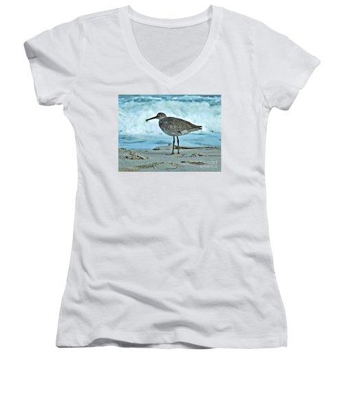 Wonderful Willet  Women's V-Neck T-Shirt (Junior Cut) by Christy Ricafrente