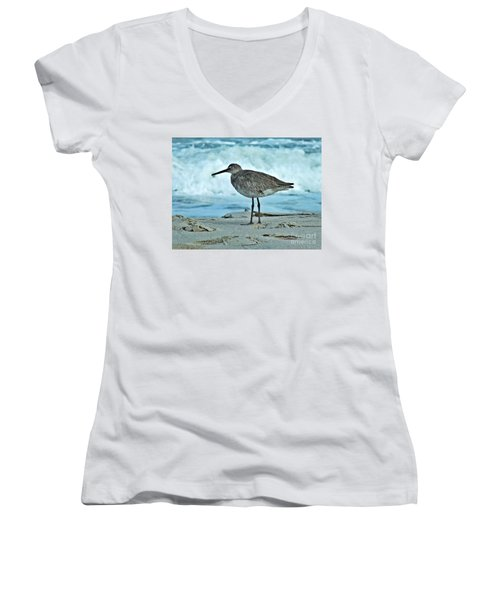 Wonderful Willet  Women's V-Neck T-Shirt