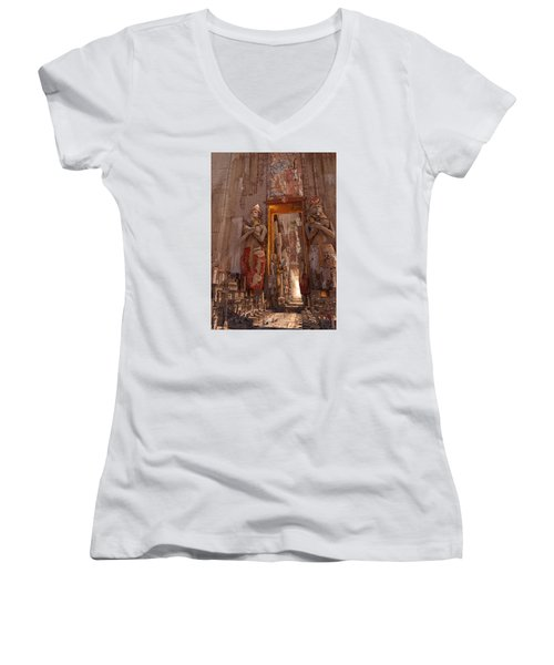 Women's V-Neck T-Shirt (Junior Cut) featuring the digital art Wonders Door To The Luxor by Te Hu