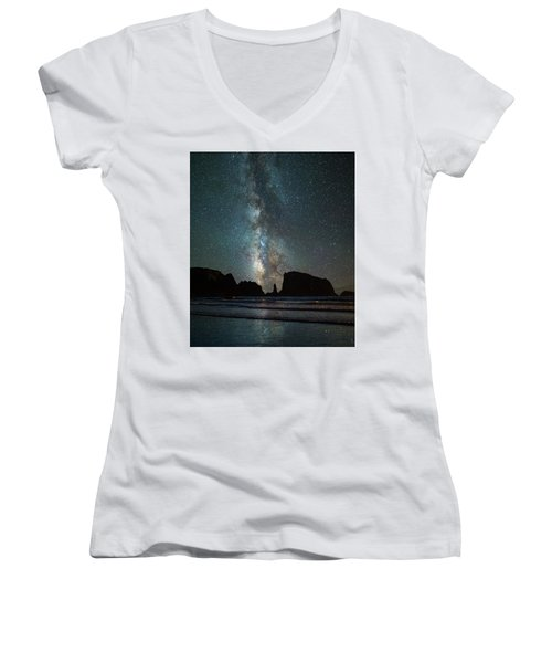 Women's V-Neck T-Shirt (Junior Cut) featuring the photograph Wonders Of The Night by Darren White