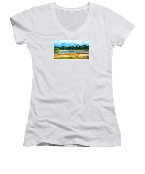 Wooden Boat In Backwaters Jungle Women's V-Neck T-Shirt