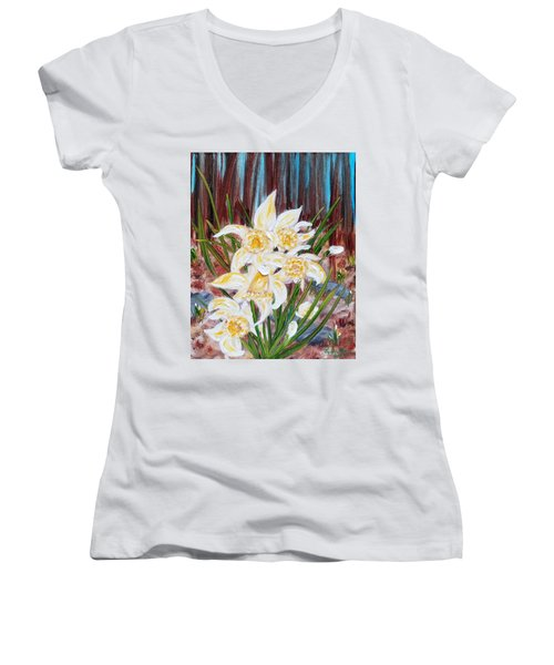 Women's V-Neck T-Shirt featuring the painting Woodland Daffodils by Judith Rhue