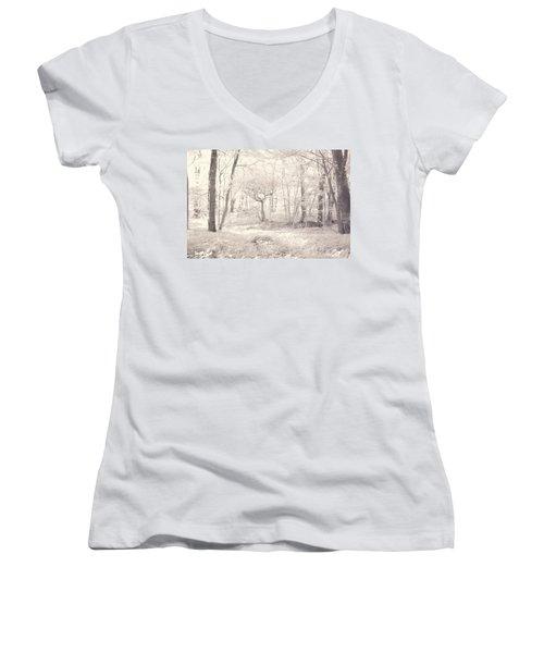 Woodland Women's V-Neck T-Shirt (Junior Cut) by Keith Elliott