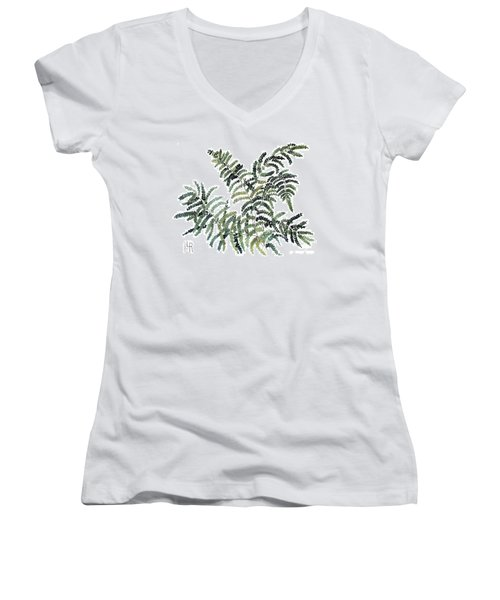 Woodland Maiden Fern Women's V-Neck T-Shirt