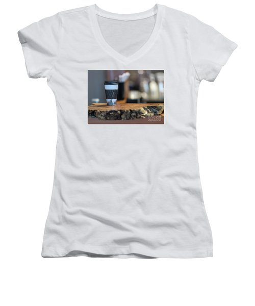 Women's V-Neck T-Shirt (Junior Cut) featuring the photograph Woods Coffee by Jim  Hatch
