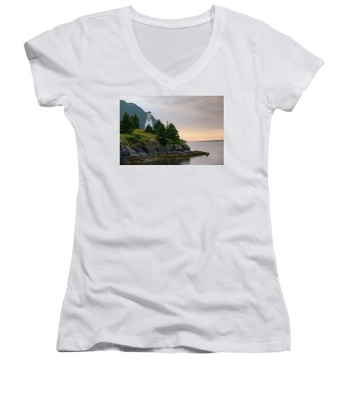 Woody Point Lighthouse - Bonne Bay Newfoundland At Sunset Women's V-Neck