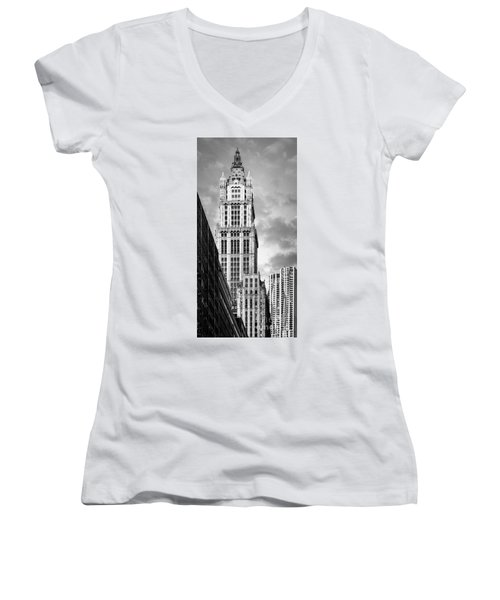 Women's V-Neck featuring the photograph Woolworth Building by Juergen Held