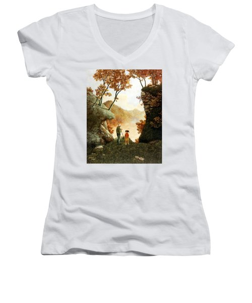 Words Of Wisdom Women's V-Neck T-Shirt (Junior Cut) by Duane R Probus