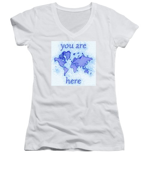 World Map Airy You Are Here In Blue And White Women's V-Neck (Athletic Fit)