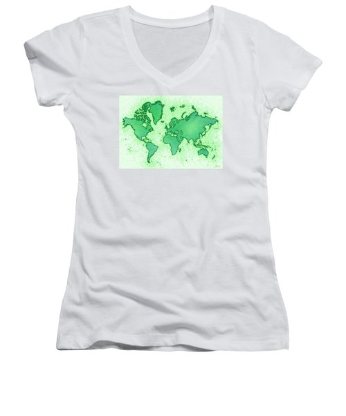 World Map Airy In Green And White Women's V-Neck T-Shirt (Junior Cut) by Eleven Corners