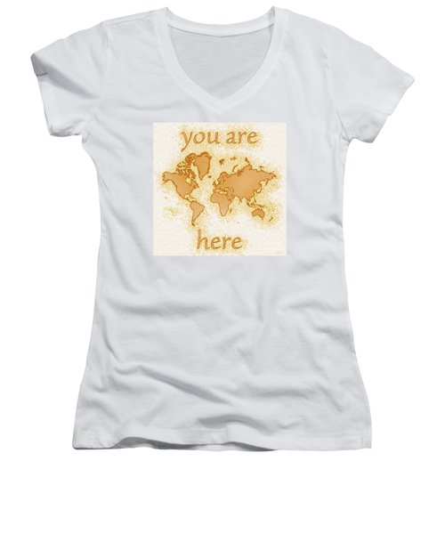 World Map Airy You Are Here In Brown And White  Women's V-Neck (Athletic Fit)