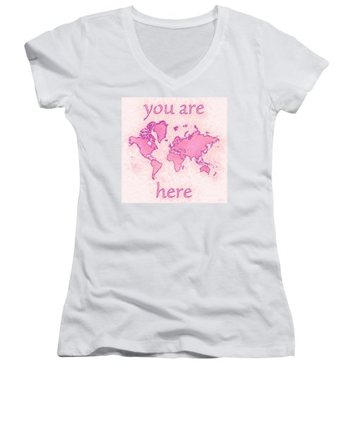 World Map Airy You Are Here In Pink And White Women's V-Neck (Athletic Fit)