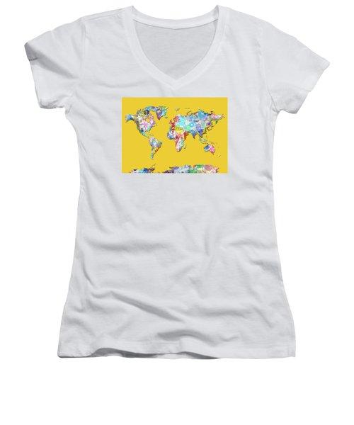 Women's V-Neck T-Shirt (Junior Cut) featuring the digital art World Map Music 13 by Bekim Art