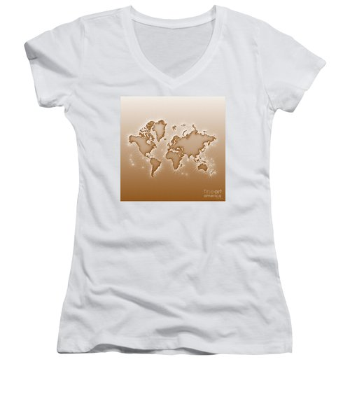 World Map Opala Square In Brown And White Women's V-Neck (Athletic Fit)