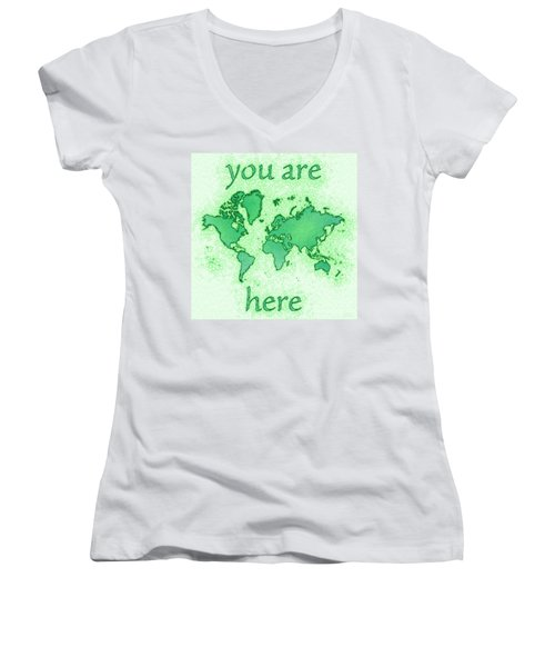 World Map You Are Here Airy In Green And White Women's V-Neck (Athletic Fit)