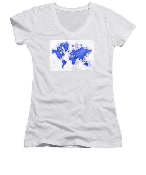 World Map Zona In Blue And White Women's V-Neck (Athletic Fit)
