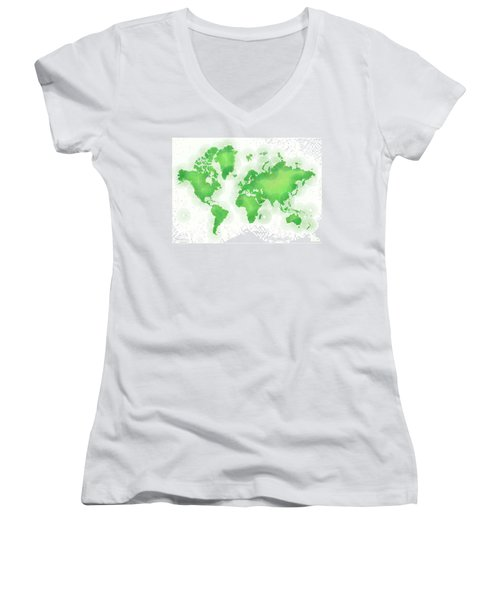 World Map Zona In Green And White Women's V-Neck (Athletic Fit)