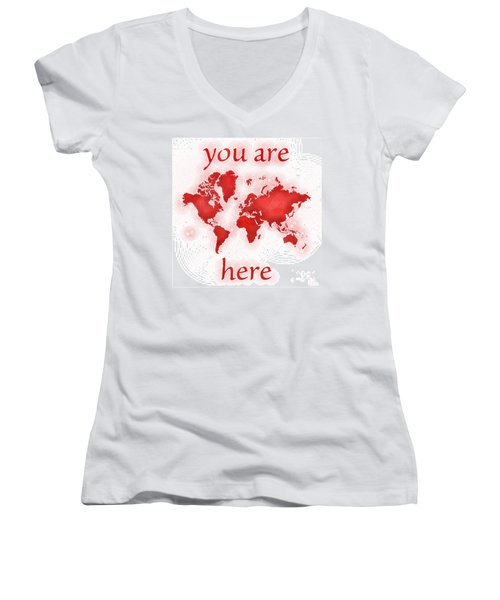 World Map Zona You Are Here In Red And White Women's V-Neck (Athletic Fit)