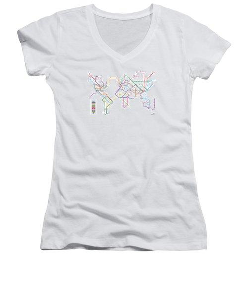 World Metro Tube Subway Map Women's V-Neck T-Shirt (Junior Cut) by Michael Tompsett