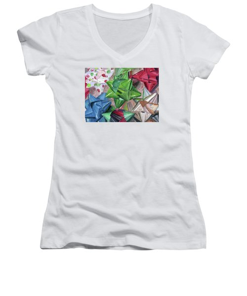 Women's V-Neck T-Shirt (Junior Cut) featuring the painting Wrap It Up by Lynne Reichhart
